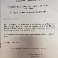 XXII. kerületi orvosi ügyelet - Ideiglenes címen!