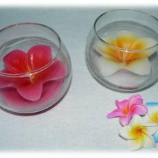frangipáni gyertya üvegben