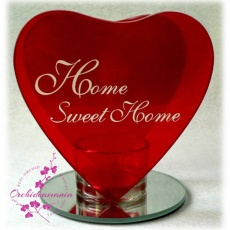 Otthon, édes otthon felíratú piros, szív alakú teamécses taró