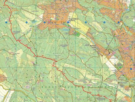 A kék kereszt jelzés útvonala a Budai-hegységben