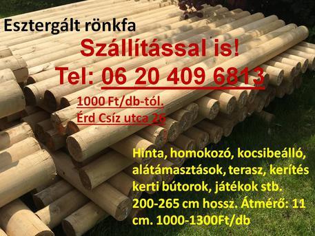 Esztergált rönkfa rúdfa farönk faoszlop