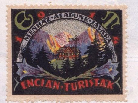Bélyegen az Encián turisták (forrás: Encián Évkönyv – 1924-ből)
