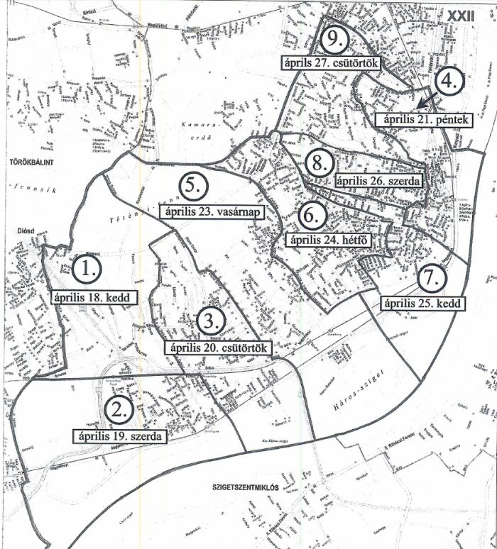 budapest xxii kerület térkép XXII. kerület   Budafok Tétény | Ekkor kezdődik a lomtalanítás  budapest xxii kerület térkép