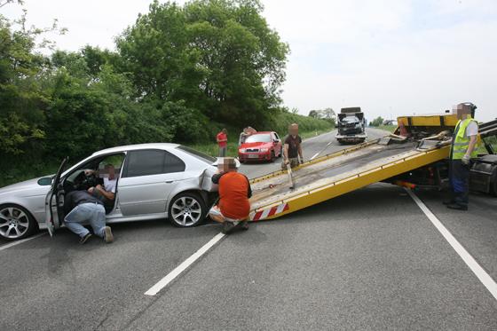 Egy korábbi baleset a 6-os főúton (Fotó: duol.hu)