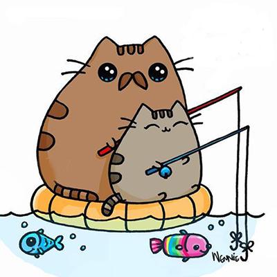 Pusheen fishing, forrás: drawsocute
